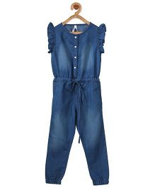 Stylestone Flutter Sleeve Denim Jumpsuit With Belt - Blue