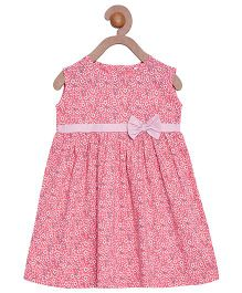 Campana Sleeveless Frock Bow Applique - Pink White