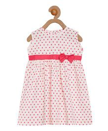 Campana Sleeveless Dotted Frock Bow Applique - White