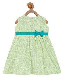 Campana Sleeveless Frock Bow Applique - Light Green White
