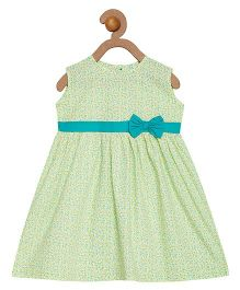Campana Sleeveless Frock Bow Applique - Light Green White