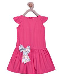 Campana Cap Sleeves Frock Bow Applique - Dark Pink