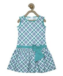 Campana Sleeveless Check Frock Bow Applique - Green White Blue