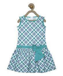 Campana Sleeveless Check Frock Bow Applique - Green White Blue