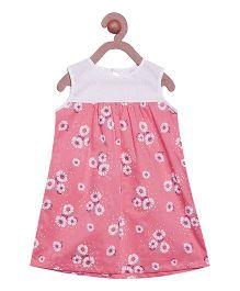 Campana Sleeveless Frock Floral Print - Pink White