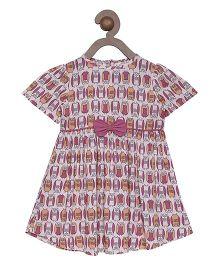 Campana Half Sleeves Frock Bow Applique - Pink