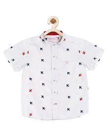 Campana Half Sleeves Shirt Aeroplane Print - White