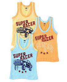 Simply Sleeveless Vest Super Racer Print Set Of 3 - Yellow Orange Blue