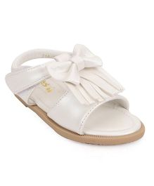 Bash Party Wear Sandals With Velcro Closure - White
