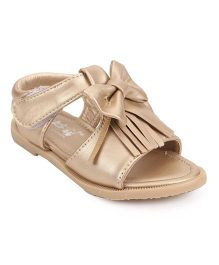 Bash Party Wear Sandals With Velcro Closure - Golden