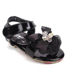Bash Party Wear Sandals Flower Applique - Black