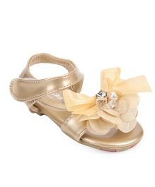 Bash Party Wear Sandals Flower Applique - Golden