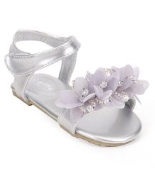 Bash Party Wear Sandals With Velcro Closure - Silver