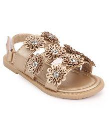 Bash Party Wear Sandals Floral Motifs - Golden