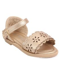 Bash Party Wear Sandals Floral Design - Golden