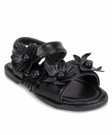 Bash Party Wear Sandals With Velcro Closure Floral Applique - Black
