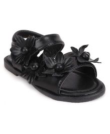 Bash Sandals With Velcro Closure Floral Applique - Black