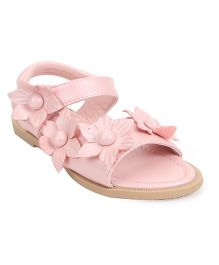 Bash Sandals With Velcro Closure Floral Applique - Pink