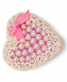 Sugarcart Rich Pearl Heart Clip With Bow - Off White & Pink