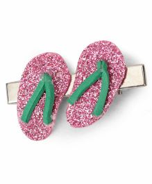 Sugarcart Cutest Princess Glitter Slippers On Aligator Clip - Pink & Green