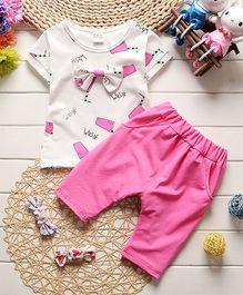 Tickles 4 U Ice Cream Print Tee & Shorts - Hot Pink