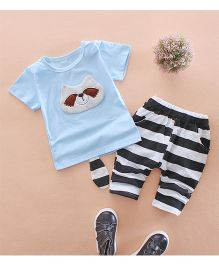 Tickles 4 U Panda Face Tee & Shorts - Blue