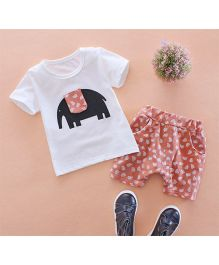 Tickles 4 U Elephant Print Tee & Shorts - White & Light Brown