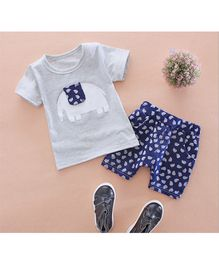 Tickles 4 U Elephant Print Tee & Shorts -  Grey & Blue