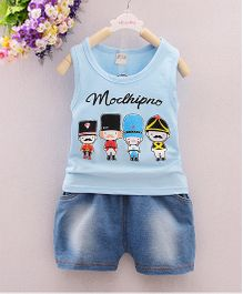 Tickles 4 U Vest & Denim Shorts - Blue