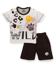 Mini Taurus Half Sleeves T-Shirt & Shorts Footprint Design - Brown