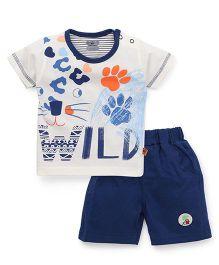 Mini Taurus Half Sleeves T-Shirt & Shorts Footprint Design - Blue