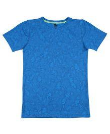 Tyge Trendy Printed Round Neck Sports Tshirt - Aqua Blue