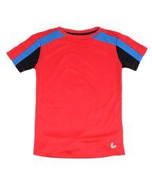 Tyge Trendy Cut N Sew Roundneck Sports Tshirt - Red