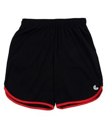 Tyge Sporty Apple Cut Solid Shorts - Black & Red