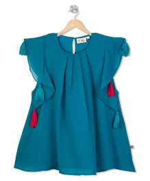 Budding Bees Solid Dress With Tassel - Blue
