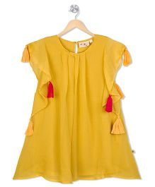 Budding Bees Solid Dress With Tassel - Yellow