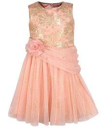 Cutecumber Sleeveless Sequin Dress Floral Applique - Peach