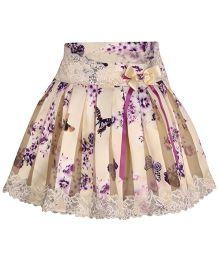 Cutecumber Pleated Skirt Flora Design - Cream