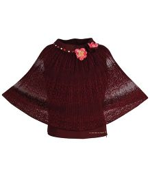 Cutecumber Poncho Style Party Wear Top Floral Applique - Maroon