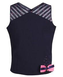 Cutecumber Sleeveless Party Wear Top Bow Applique - Navy