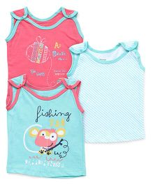 Ohms Sleeveless Vests Pack of 3 - Pink Sea Green