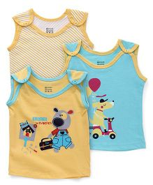Ohms Sleeveless Vests Pack of 3 - Yellow Sky Blue