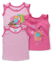 Ohms Sleeveless Vests Pack of 3 - Light & Dark Pink