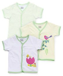 Ohms Short Sleeves Vests Pack of 3 - White Light Green Yellow