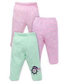 Ohms Full Length Bottoms Pack of 3 - Pink Green