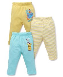 Ohms Full Length Bottoms Pack of 3 - Yellow Sky Blue