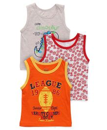 Ohms Sleeveless Vests Pack of 3 - Grey Red Orange