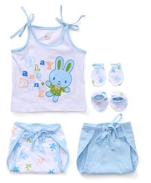 Ohms 5 Piece Infant Clothing Set - White Sky Blue