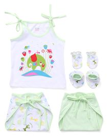 Ohms 5 Piece Infant Clothing Set - White Light Green