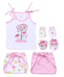 Ohms 5 Piece Infant Clothing Set - White Pink